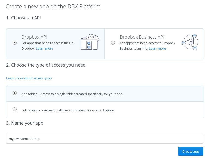 dropbox create app
